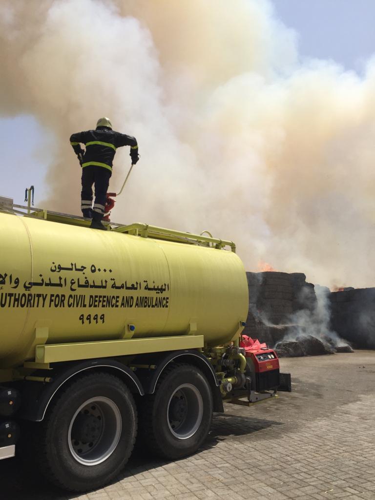 حريق مخزن في البريمي
