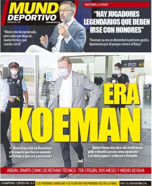 عهد كومان مع برشلونة وصمت ميسي ...أبرز عناوين الصحف الاسبانية