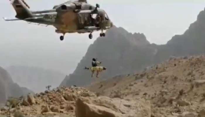 طيران الشرطة ينقذ شخص سقط من جبل شاهق في بهلاء