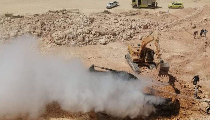 Firefighting teams deal with a fire report in Wilayat Seeb