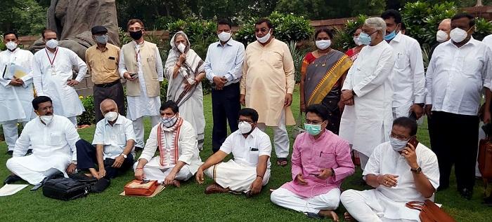 Suspended Rajya Sabha MPs on indefinite protest in India's Parliament premises