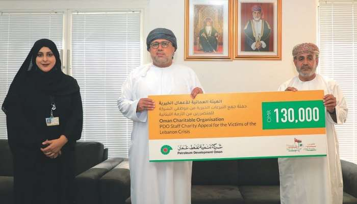 """""""تنمية نفط عمان"""" تتبرع بـ 130 ألف ريالا عمانيا للشعب اللبناني"""