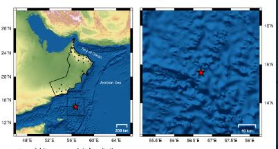 زلزال بقوة 5.2 يبعد عن صلالة 374 كم