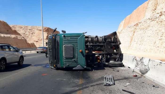 Truck overturns on Muscat Expressway