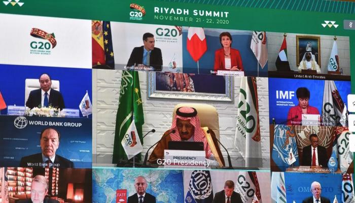 الملك سلمان خلال قمة العشرين: ساهمنا  بـ21 بليون دولار للتصدي لجائحة كورونا