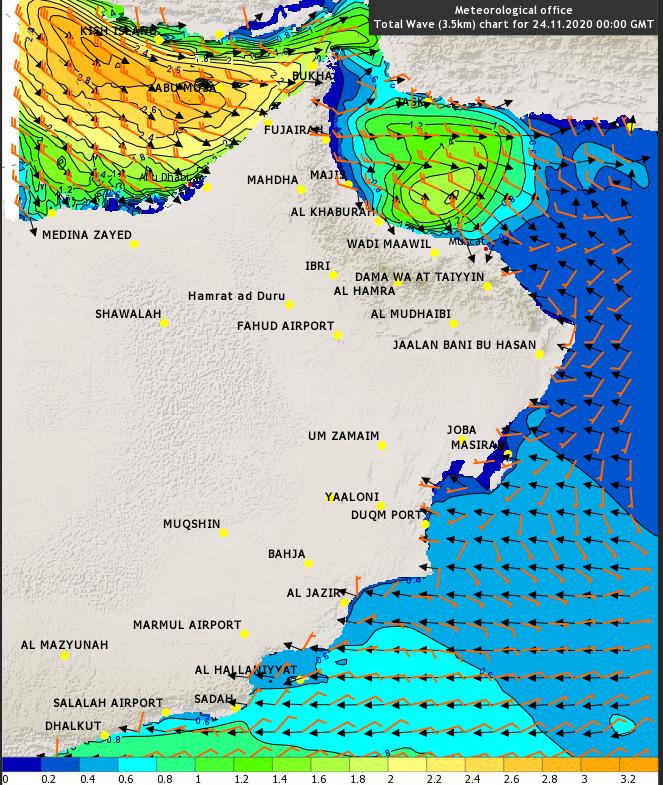 الأرصاد : البحر هائج الموج على سواحل مسندم ابتداءً من اليوم