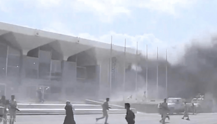 قتلى وجرحى في انفجار عنيف استهدف مطار عدن تزامنا مع وصول الحكومة الجديدة
