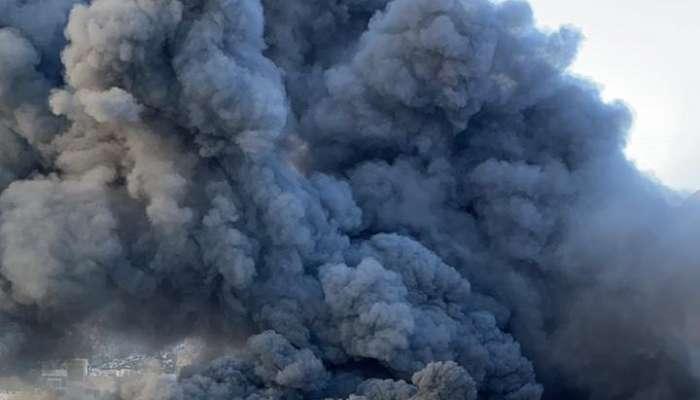 بلاغ عن حريق بالمنطقة الصناعية بمطرح