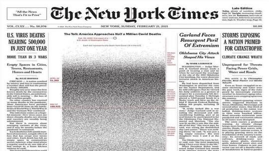 نيويورك تايمز تنشر صورة غريبة على صفحتها الأولى
