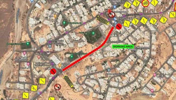 بلدية مسقط تنبه بِإغلاق كلي لشارع حي البيضاء
