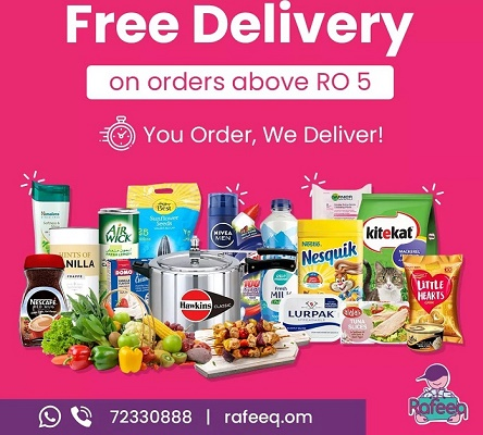 Now enjoy free delivery on orders above OMR5 with Rafeeq