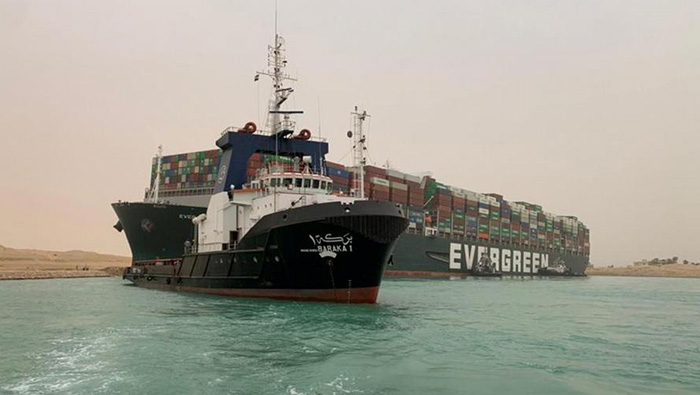 Suez Canal blocked by giant container ship run aground