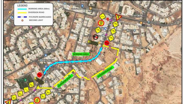 Road closure in  Hay Al Bayda Street