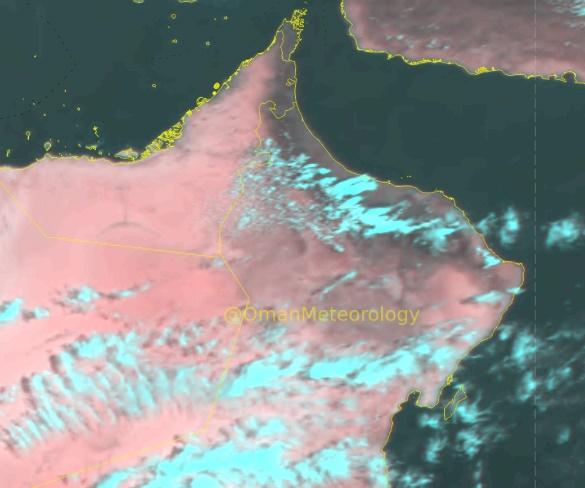الأرصاد: هطول أمطار متفاوتة الغزارة على  أجزاء من جبال الحجر الأوسط