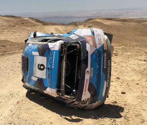 حمد الوهيبي يتعرض لحادث قبل  انطلاق رالي الأردن الدولي