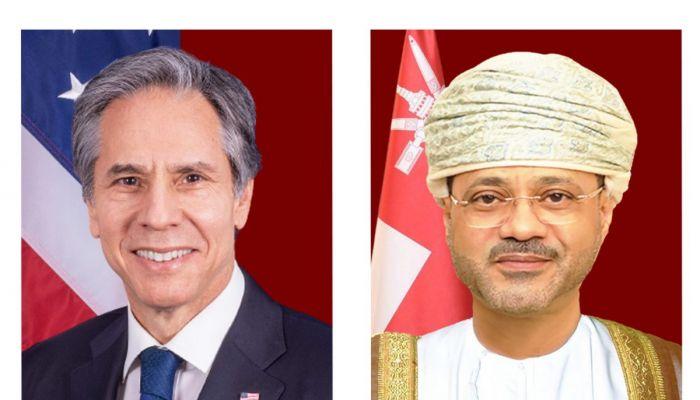 البوسعيدي يتلقى اتصالًا من وزير الخارجية الأمريكي