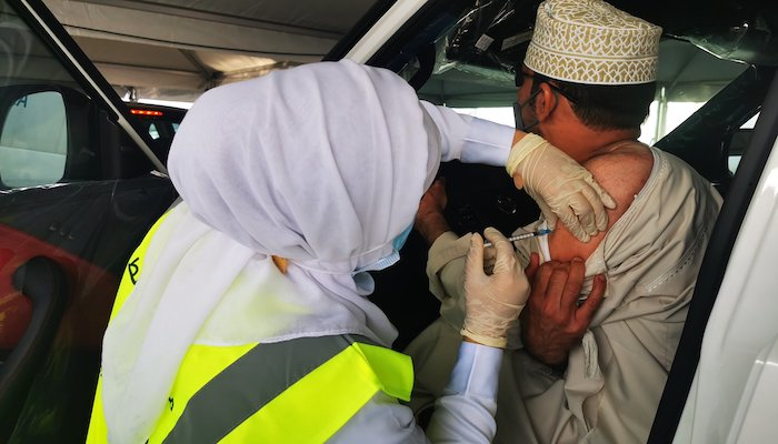 Drive-through COVID-19 vaccination begins in Muscat Governorate