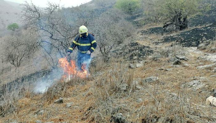 إخماد حريق شب في حشائش بولاية طاقة