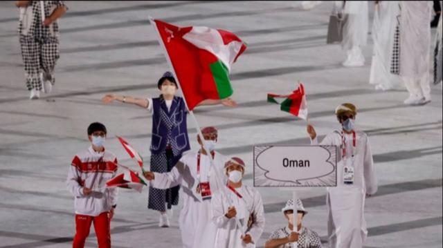 علم السلطنة يرفرف في الإستاد الأولمبي  بطوكيو خلال حفل إفتتاح الأولمبياد