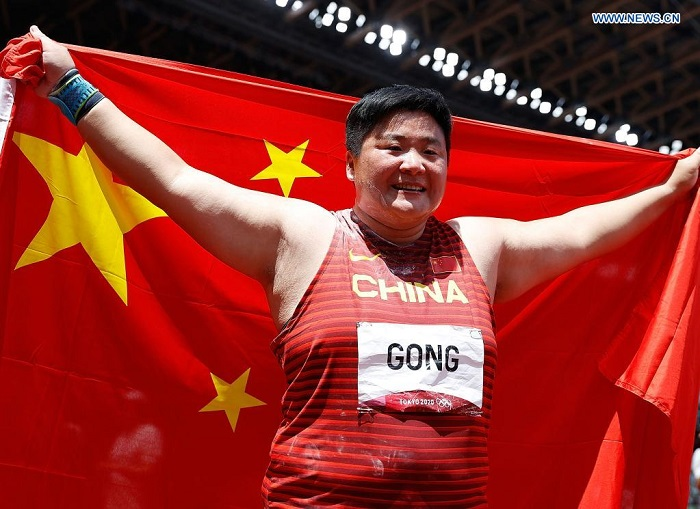 China's shot putter Gong Lijiao wins her first Olympic gold
