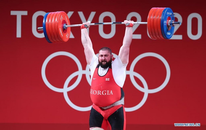 Georgia's Talakhadze sets three world records to win weightlifting gold