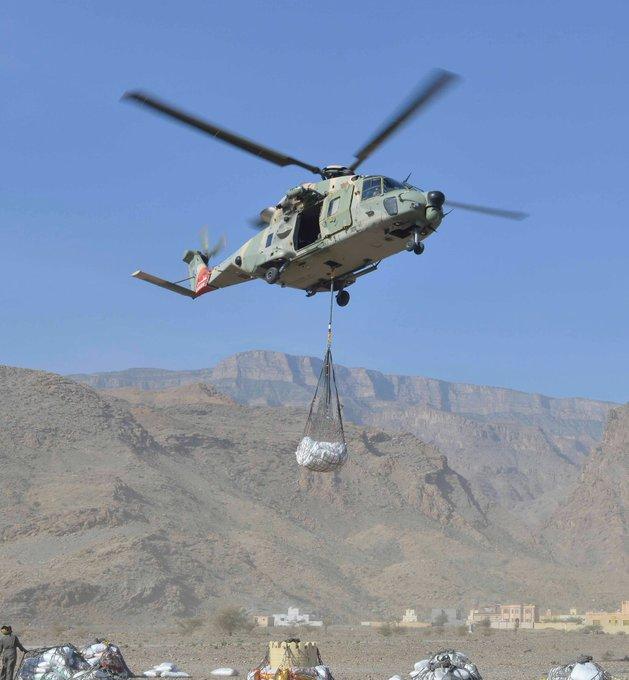 سلاح الجو يسير طائرة عمودية لنقل مواد استهلاكية إلى بلدة جبلية