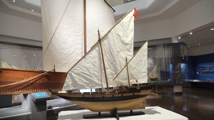 Muscat armed baghla on display at Oman's National Museum