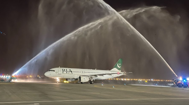 Oman Airports welcomes Pakistan International Airlines with water salute